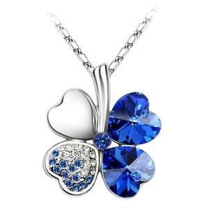 Navy Four Heart Clover necklace,Swarovski elements